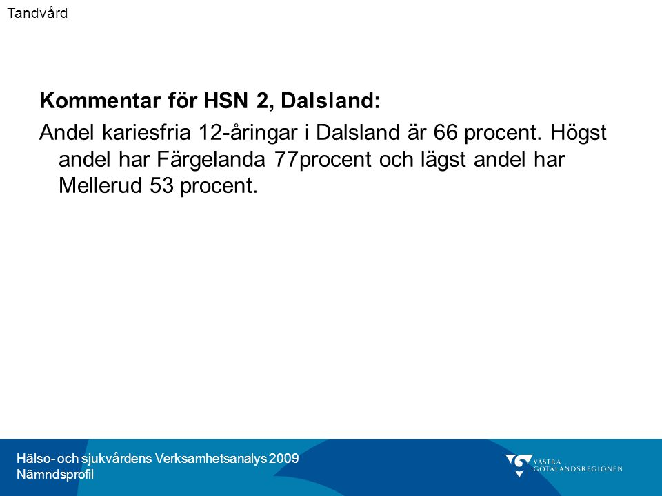 Hälso- och sjukvårdens Verksamhetsanalys 2009 Nämndsprofil Kommentar för HSN 2, Dalsland: Andel kariesfria 12-åringar i Dalsland är 66 procent.