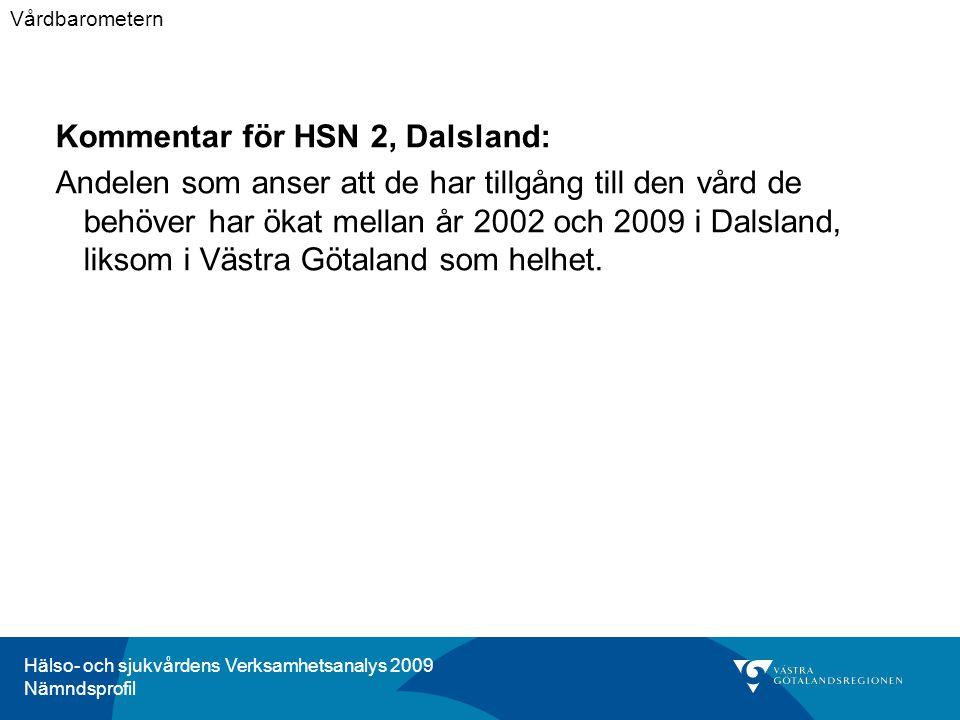 Hälso- och sjukvårdens Verksamhetsanalys 2009 Nämndsprofil Kommentar för HSN 2, Dalsland: Andelen som anser att de har tillgång till den vård de behöver har ökat mellan år 2002 och 2009 i Dalsland, liksom i Västra Götaland som helhet.