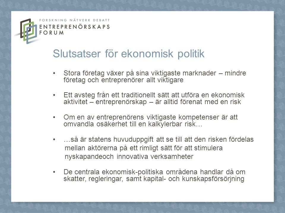 Slutsatser för ekonomisk politik Stora företag växer på sina viktigaste marknader – mindre företag och entreprenörer allt viktigare Ett avsteg från ett traditionellt sätt att utföra en ekonomisk aktivitet – entreprenörskap – är alltid förenat med en risk Om en av entreprenörens viktigaste kompetenser är att omvandla osäkerhet till en kalkylerbar risk… …så är statens huvuduppgift att se till att den risken fördelas mellan aktörerna på ett rimligt sätt för att stimulera nyskapandeoch innovativa verksamheter De centrala ekonomisk-politiska områdena handlar då om skatter, regleringar, samt kapital- och kunskapsförsörjning