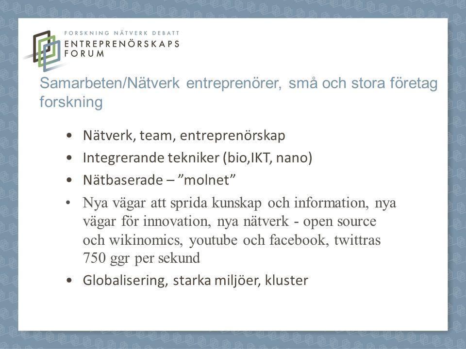 Samarbeten/Nätverk entreprenörer, små och stora företag forskning Nätverk, team, entreprenörskap Integrerande tekniker (bio,IKT, nano) Nätbaserade – molnet Nya vägar att sprida kunskap och information, nya vägar för innovation, nya nätverk - open source och wikinomics, youtube och facebook, twittras 750 ggr per sekund Globalisering, starka miljöer, kluster