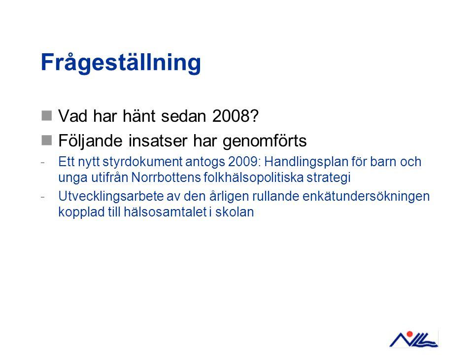 Frågeställning Vad har hänt sedan 2008? Följande insatser har genomförts -Ett nytt styrdokument antogs 2009: Handlingsplan för barn och unga utifrån N