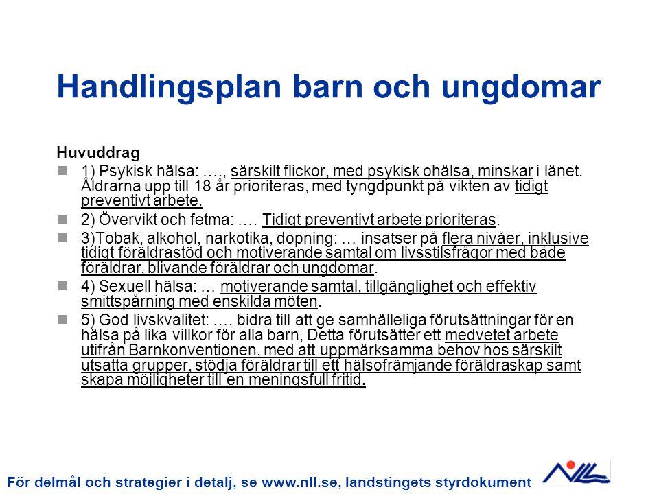 Röd tråd genom landstingets dokument och verksamhetsstyrning Landstingsplan Strategi Uppföljning: Årsredov Strategi Hälsobokslut Handlingsplan barn och ungdomar Divisionsplaner 2007 2009