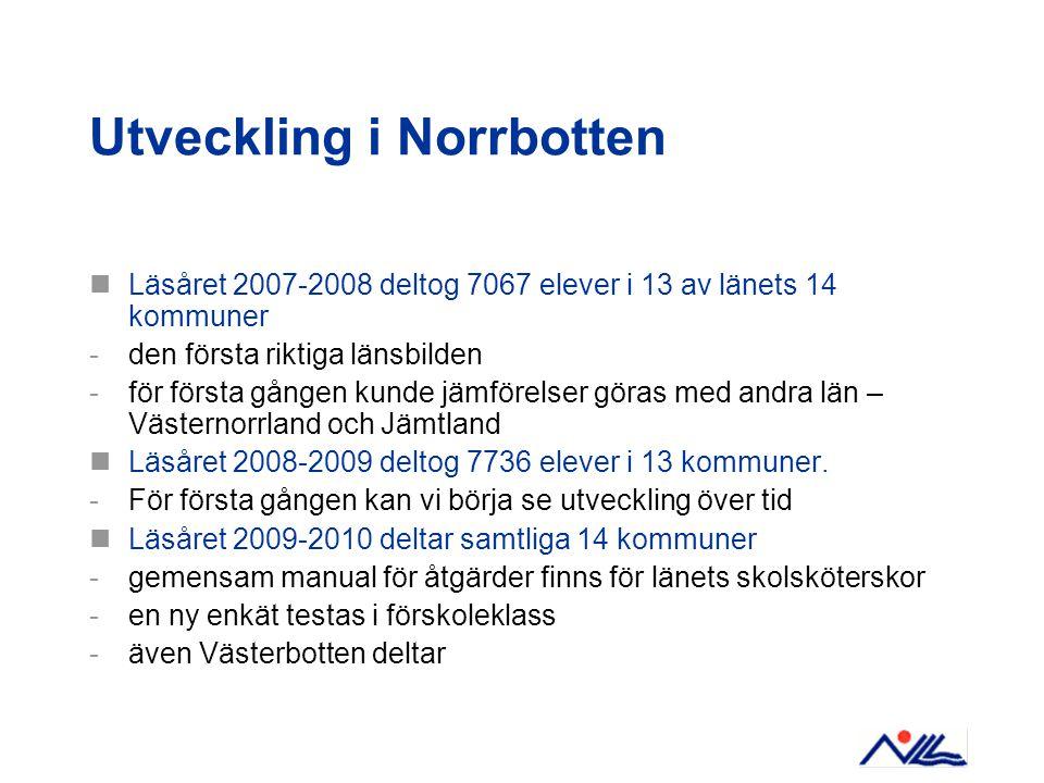 Utveckling i Norrbotten Läsåret 2007-2008 deltog 7067 elever i 13 av länets 14 kommuner -den första riktiga länsbilden -för första gången kunde jämför