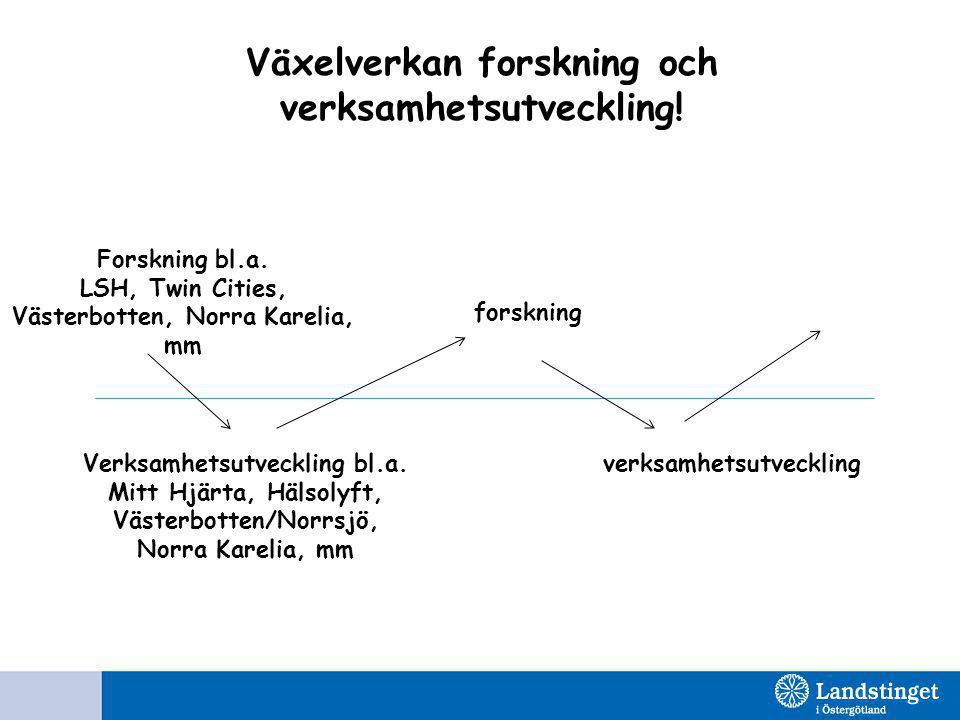 Växelverkan forskning och verksamhetsutveckling! Forskning bl.a. LSH, Twin Cities, Västerbotten, Norra Karelia, mm Verksamhetsutveckling bl.a. Mitt Hj