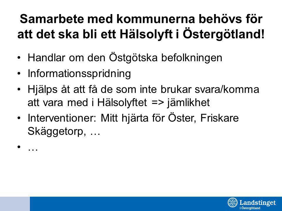 Samarbete med kommunerna behövs för att det ska bli ett Hälsolyft i Östergötland! Handlar om den Östgötska befolkningen Informationsspridning Hjälps å