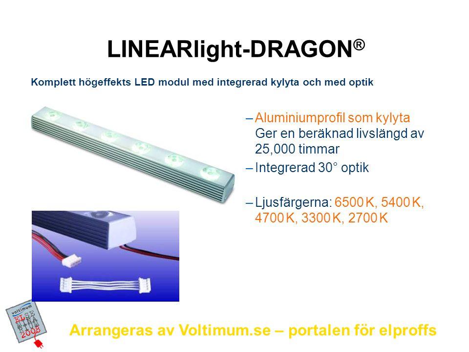 Arrangeras av Voltimum.se – portalen för elproffs –Aluminiumprofil som kylyta Ger en beräknad livslängd av 25,000 timmar –Integrerad 30° optik –Ljusfä