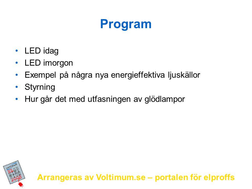 Arrangeras av Voltimum.se – portalen för elproffs Program LED idag LED imorgon Exempel på några nya energieffektiva ljuskällor Styrning Hur går det me