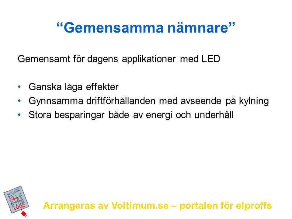 """Arrangeras av Voltimum.se – portalen för elproffs """"Gemensamma nämnare"""" Gemensamt för dagens applikationer med LED Ganska låga effekter Gynnsamma drift"""
