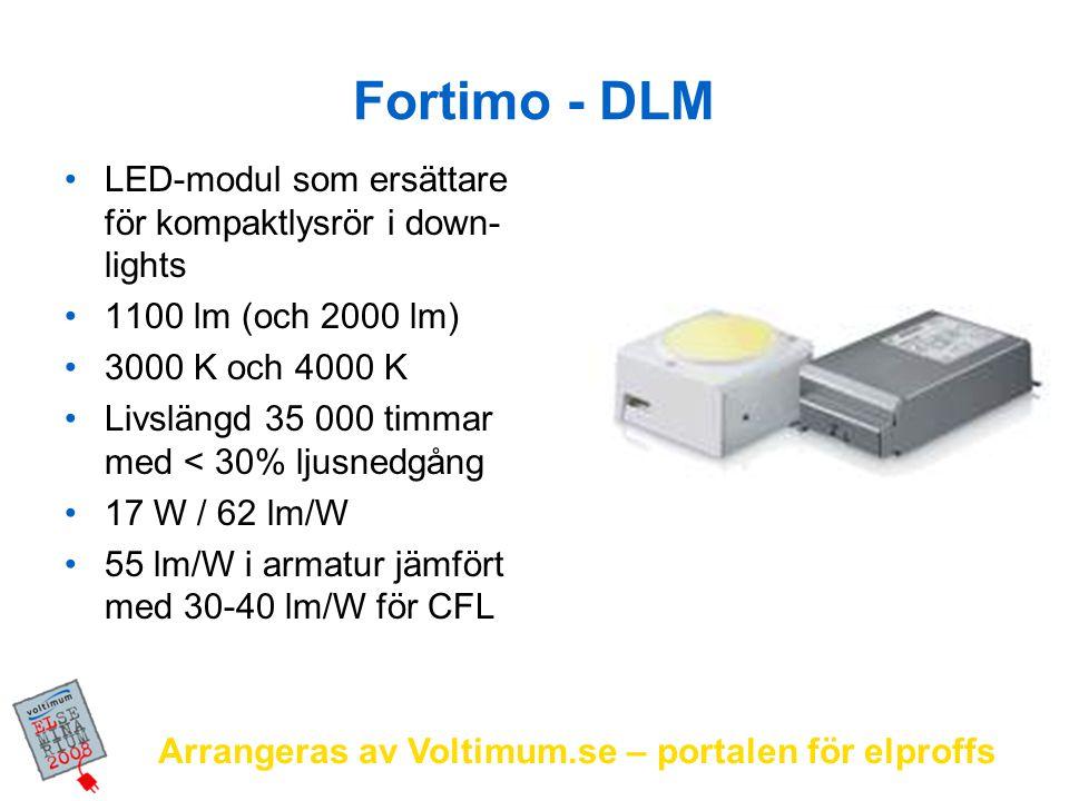 Arrangeras av Voltimum.se – portalen för elproffs Fortimo - DLM LED-modul som ersättare för kompaktlysrör i down- lights 1100 lm (och 2000 lm) 3000 K
