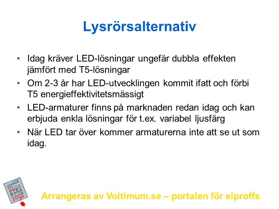 Arrangeras av Voltimum.se – portalen för elproffs Lysrörsalternativ Idag kräver LED-lösningar ungefär dubbla effekten jämfört med T5-lösningar Om 2-3