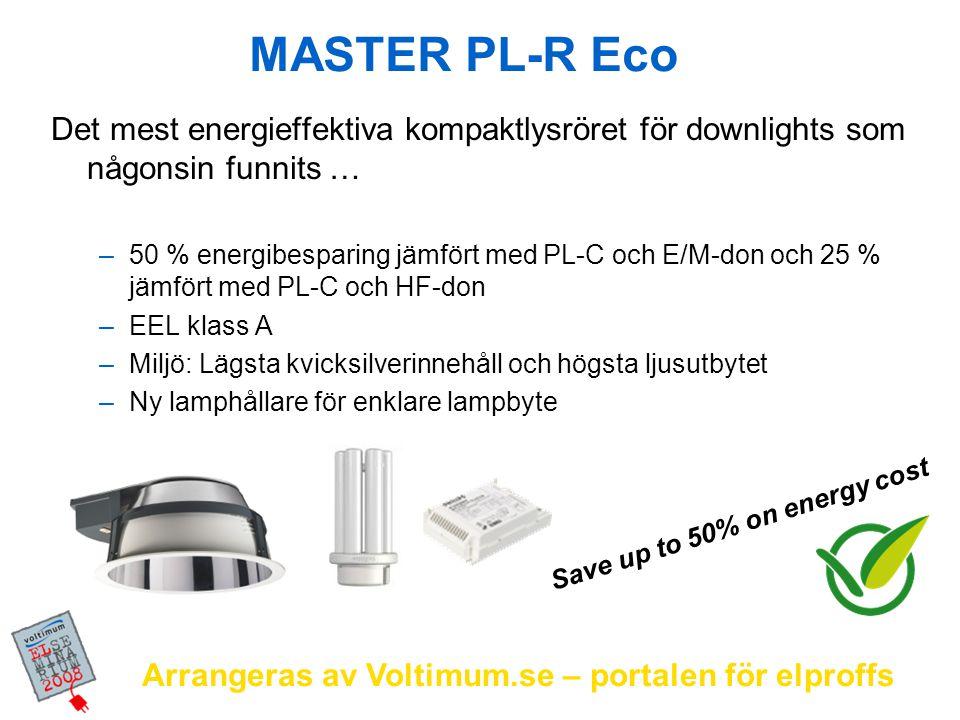 Arrangeras av Voltimum.se – portalen för elproffs MASTER PL-R Eco Det mest energieffektiva kompaktlysröret för downlights som någonsin funnits … –50 %