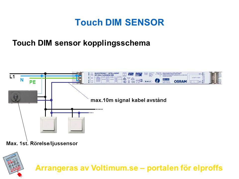 Arrangeras av Voltimum.se – portalen för elproffs L1 N PE Touch DIM sensor kopplingsschema max.10m signal kabel avstånd Max. 1st. Rörelse/ljussensor T