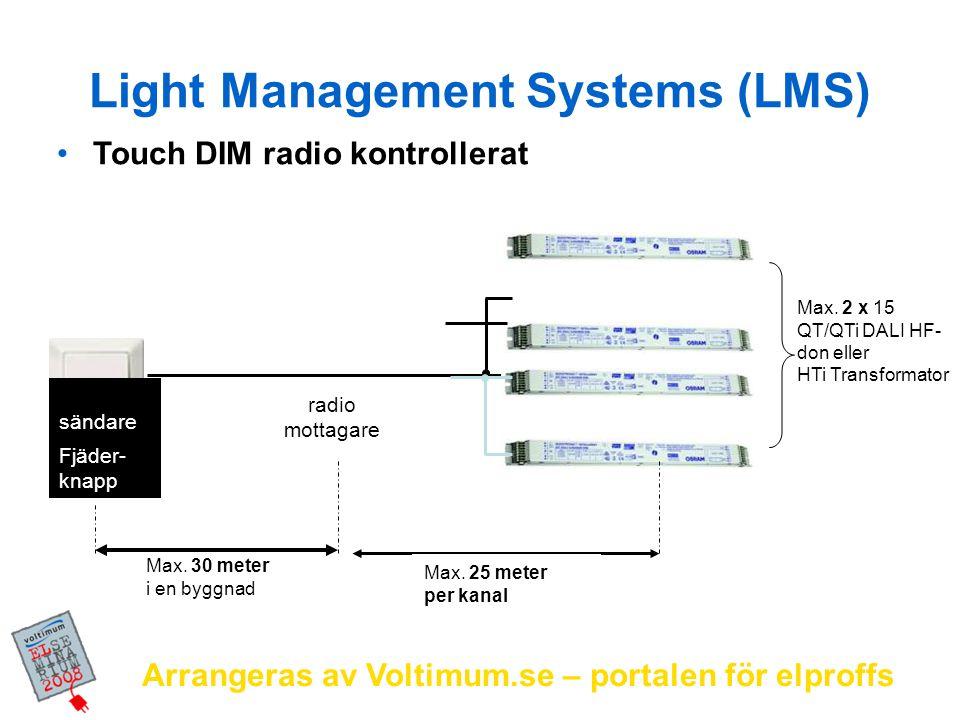 Arrangeras av Voltimum.se – portalen för elproffs Touch DIM radio kontrollerat Max. 2 x 15 QT/QTi DALI HF- don eller HTi Transformator radio mottagare