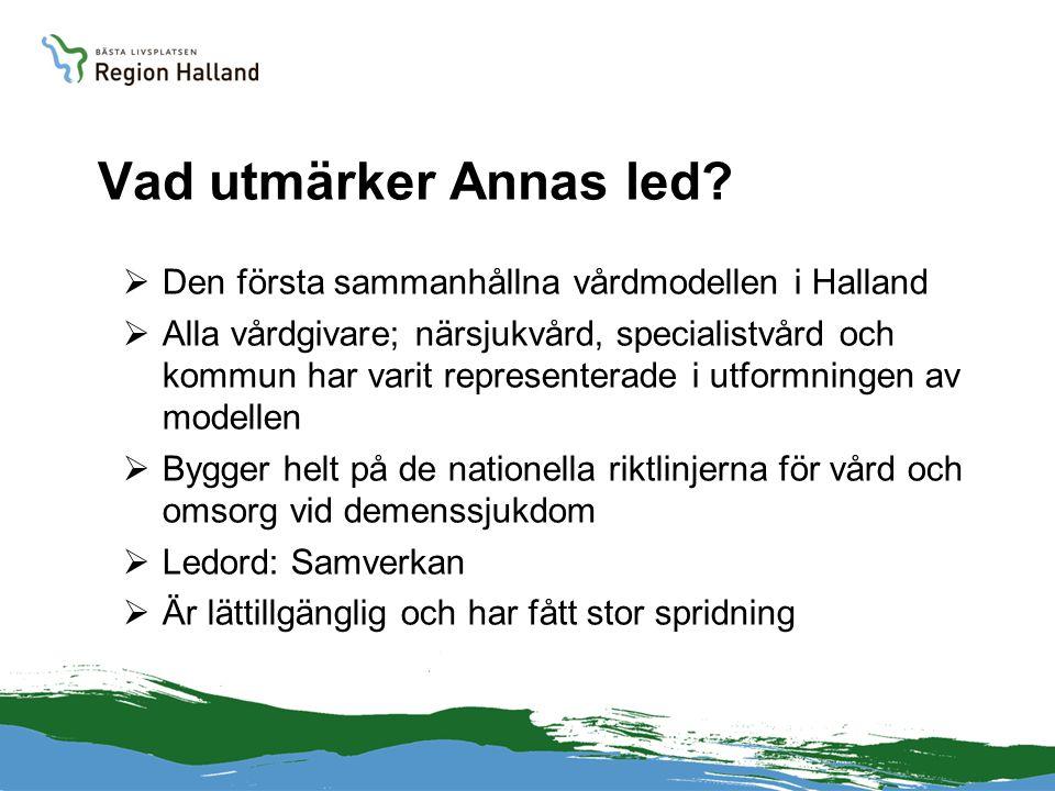 Vad utmärker Annas led?  Den första sammanhållna vårdmodellen i Halland  Alla vårdgivare; närsjukvård, specialistvård och kommun har varit represent