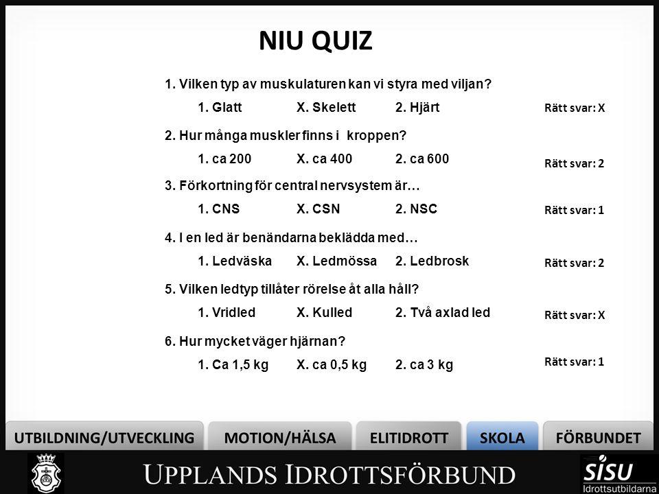 NIU QUIZ 1. Vilken typ av muskulaturen kan vi styra med viljan? 1. GlattX. Skelett2. Hjärt Rätt svar: X 2. Hur många muskler finns i kroppen? 1. ca 20