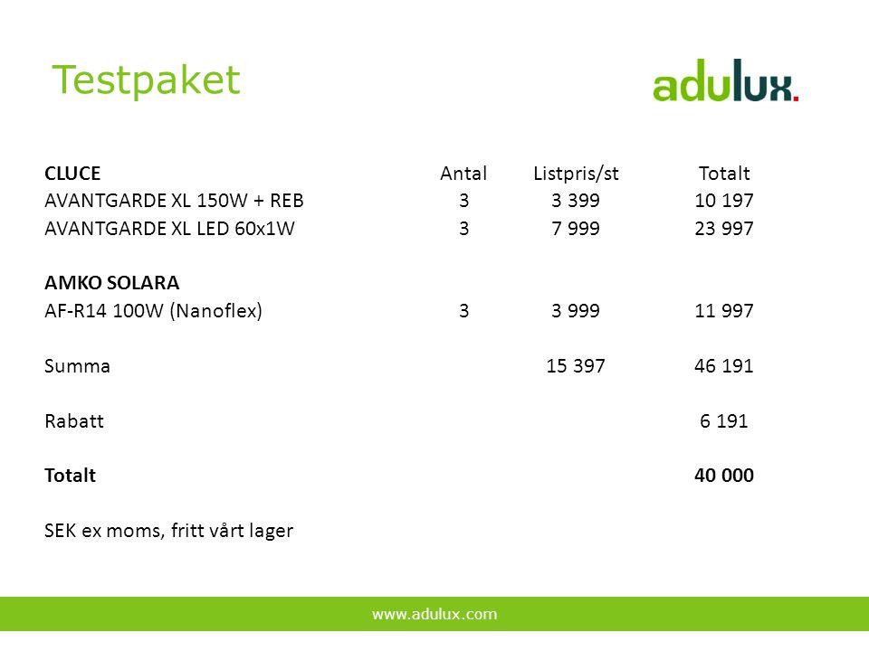 Testpaket www.adulux.com CLUCEAntalListpris/stTotalt AVANTGARDE XL 150W + REB33 39910 197 AVANTGARDE XL LED 60x1W37 99923 997 AMKO SOLARA AF-R14 100W