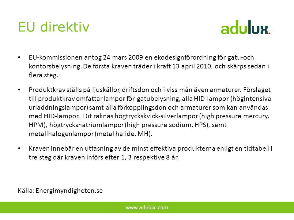 EU direktiv EU-kommissionen antog 24 mars 2009 en ekodesignförordning för gatu-och kontorsbelysning. De första kraven träder i kraft 13 april 2010, oc