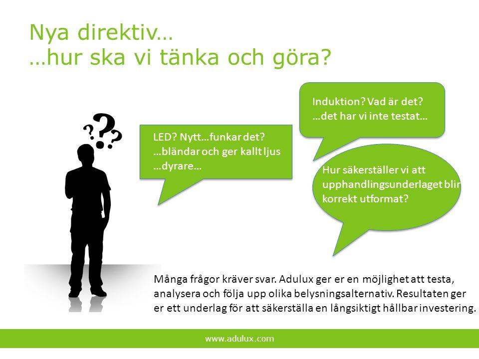 Nya direktiv… …hur ska vi tänka och göra? www.adulux.com Induktion? Vad är det? …det har vi inte testat… LED? Nytt…funkar det? …bländar och ger kallt
