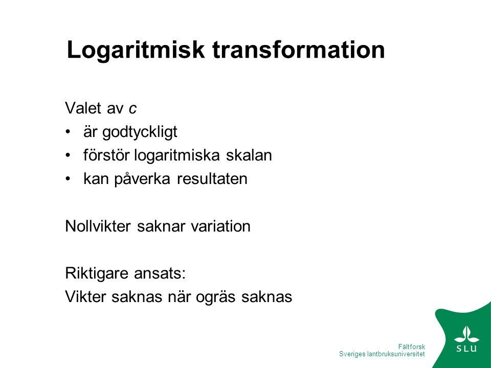 Fältforsk Sveriges lantbruksuniversitet Logaritmisk transformation Valet av c är godtyckligt förstör logaritmiska skalan kan påverka resultaten Nollvi