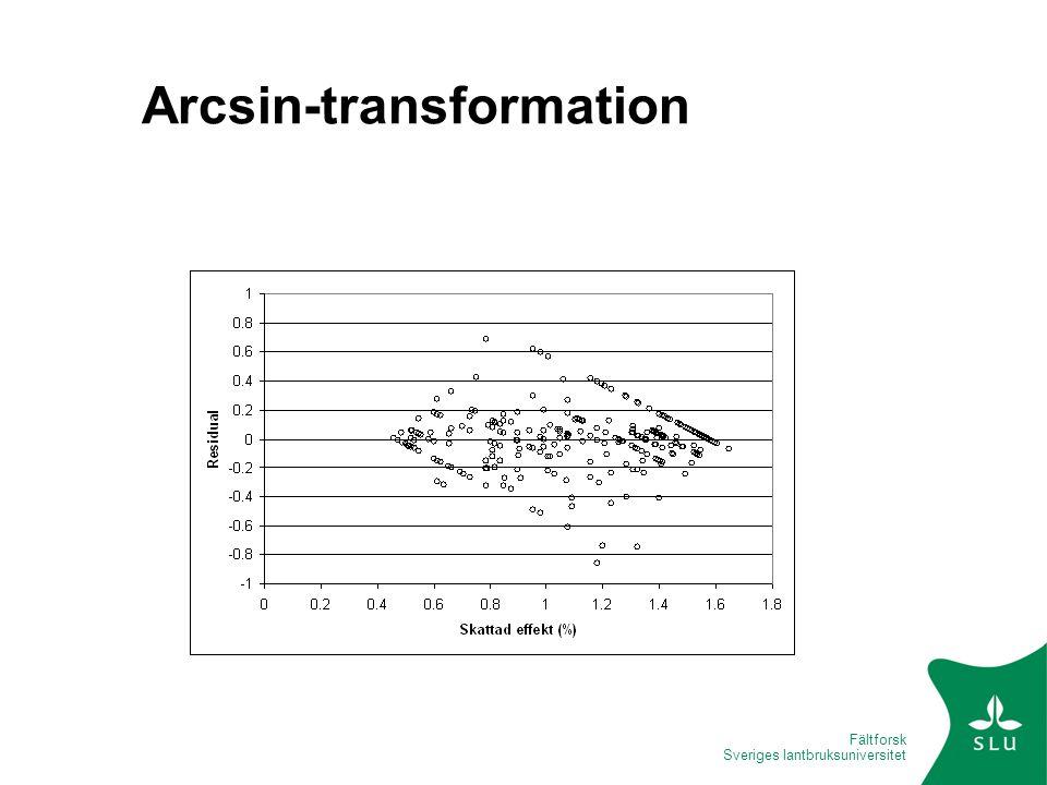 Fältforsk Sveriges lantbruksuniversitet Arcsin-transformation