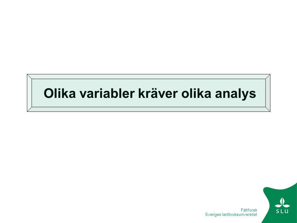 Fältforsk Sveriges lantbruksuniversitet Olika variabler kräver olika analys