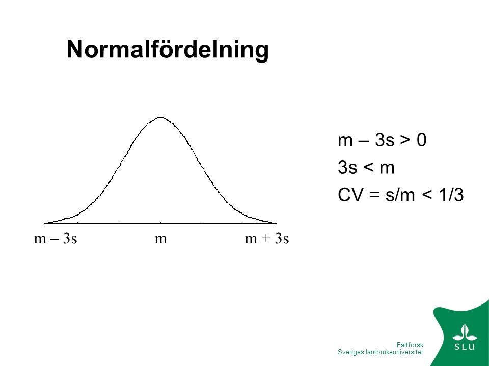 Fältforsk Sveriges lantbruksuniversitet Normalfördelning m – 3s > 0 3s < m CV = s/m < 1/3 m – 3s m m + 3s