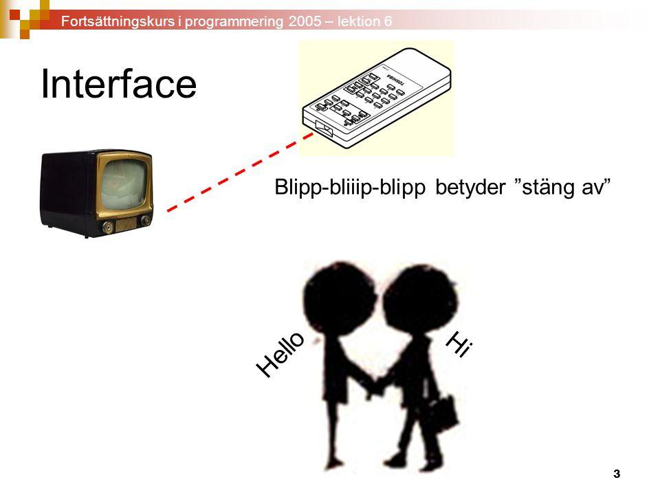 """3 Interface Blipp-bliiip-blipp betyder """"stäng av"""" Hello Hi Fortsättningskurs i programmering 2005 – lektion 6"""