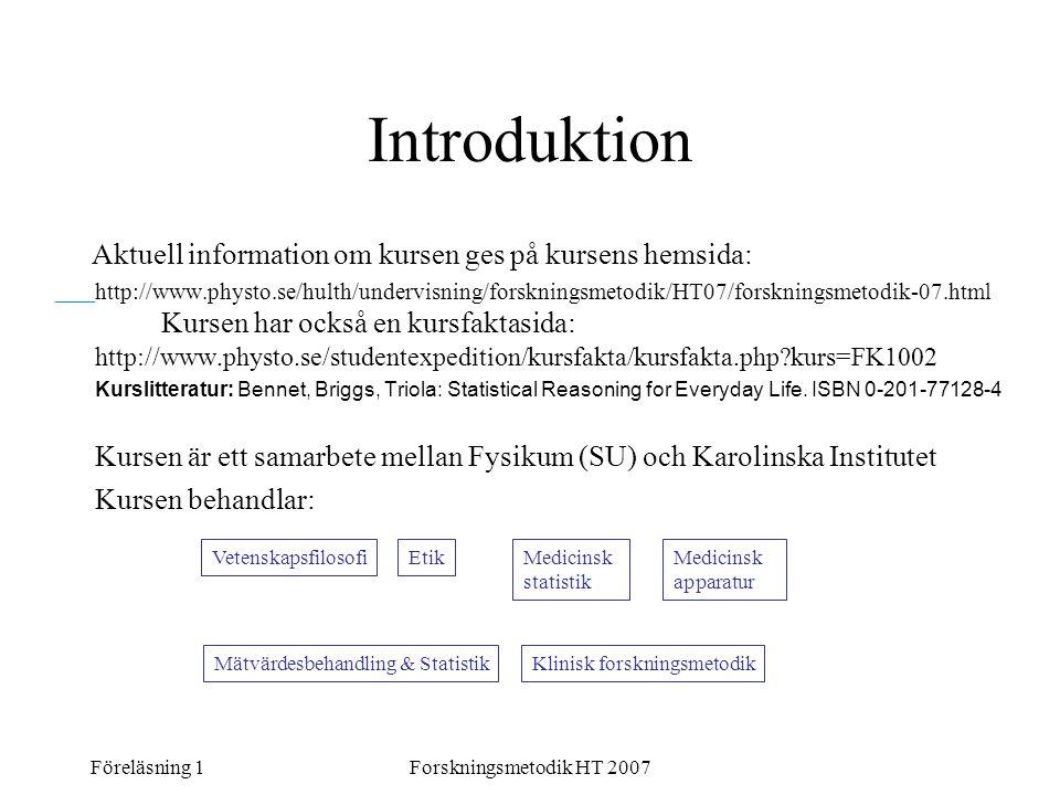 Föreläsning 1Forskningsmetodik HT 2007 Introduktion Aktuell information om kursen ges på kursens hemsida: http://www.physto.se/hulth/undervisning/fors