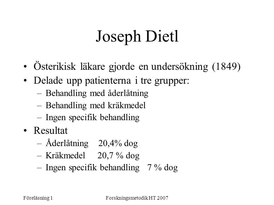 Föreläsning 1Forskningsmetodik HT 2007 Joseph Dietl Österikisk läkare gjorde en undersökning (1849) Delade upp patienterna i tre grupper: –Behandling
