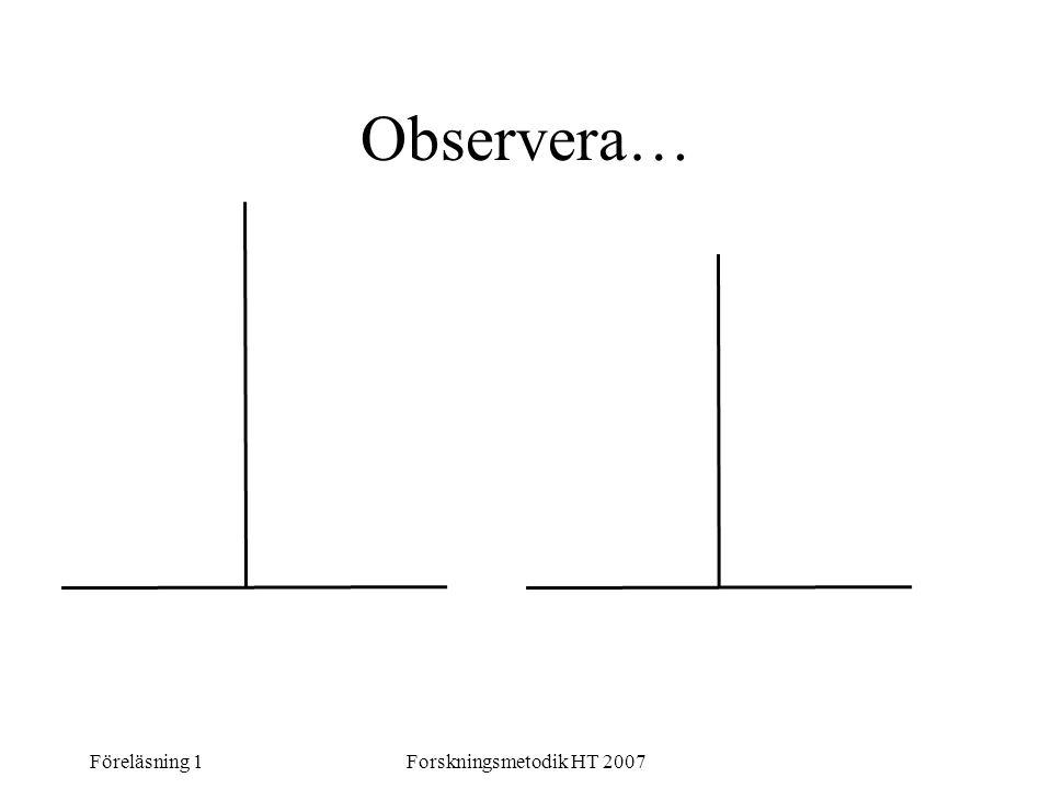 Föreläsning 1Forskningsmetodik HT 2007 Observera…