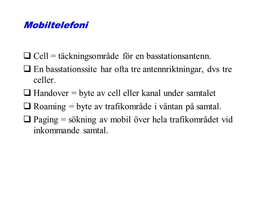 Mobiltelefoni qCell = täckningsområde för en basstationsantenn. qEn basstationssite har ofta tre antennriktningar, dvs tre celler. qHandover = byte av