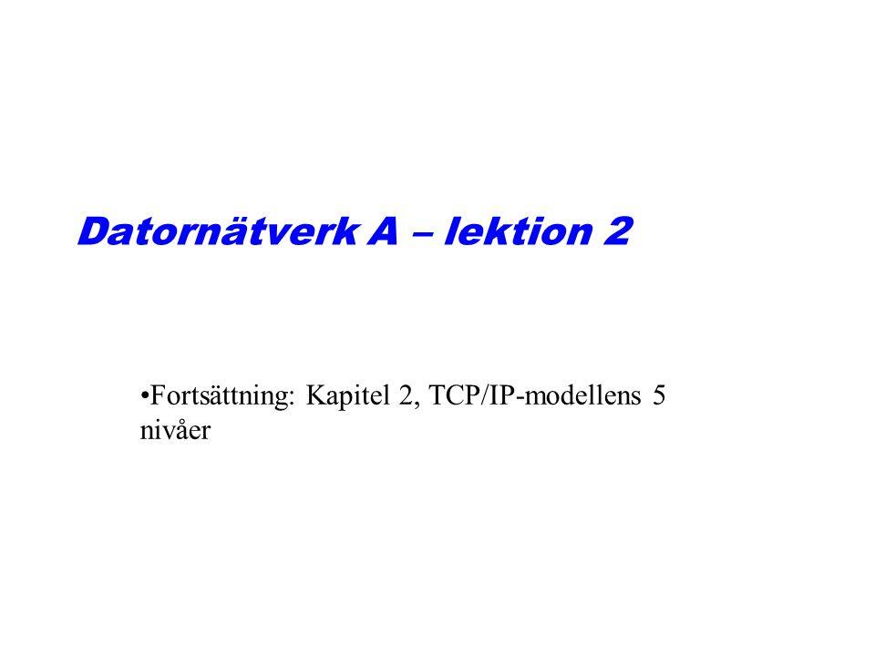 Datornätverk A – lektion 2 Fortsättning: Kapitel 2, TCP/IP-modellens 5 nivåer