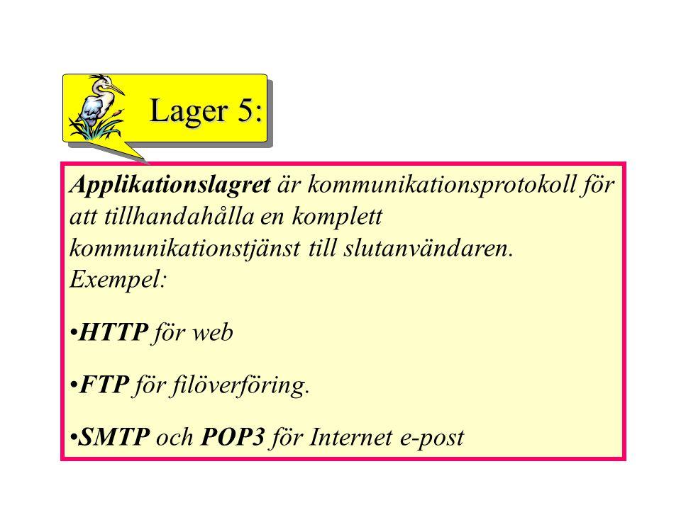 Applikationslagret är kommunikationsprotokoll för att tillhandahålla en komplett kommunikationstjänst till slutanvändaren. Exempel: HTTP för web FTP f
