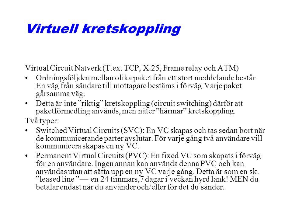 Virtuell kretskoppling Virtual Circuit Nätverk (T.ex. TCP, X.25, Frame relay och ATM) Ordningsföljden mellan olika paket från ett stort meddelande bes