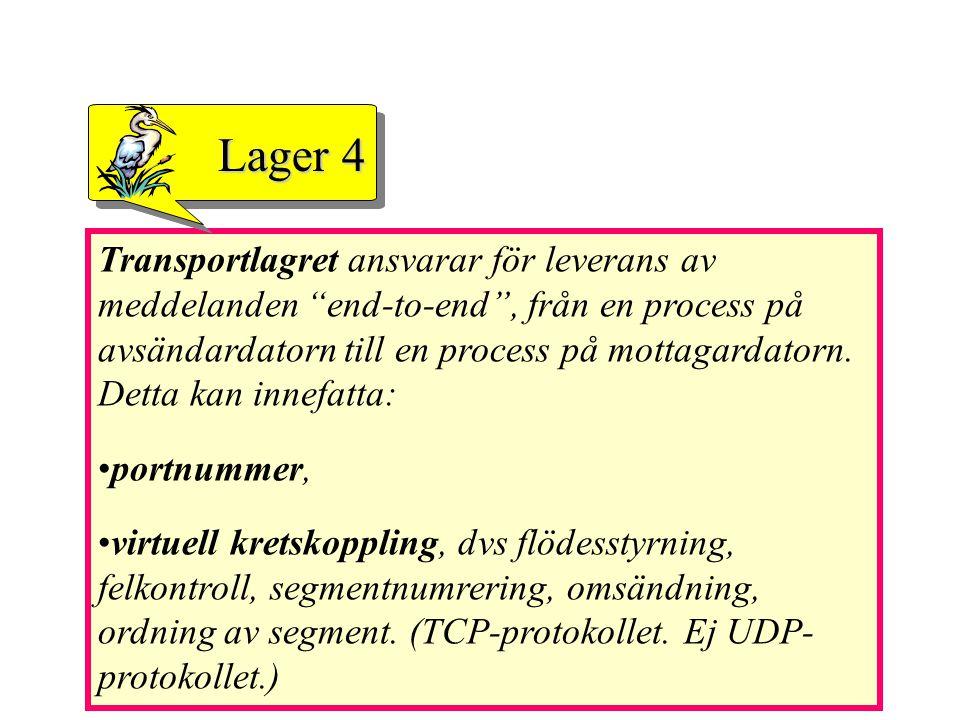 """Transportlagret ansvarar för leverans av meddelanden """"end-to-end"""", från en process på avsändardatorn till en process på mottagardatorn. Detta kan inne"""