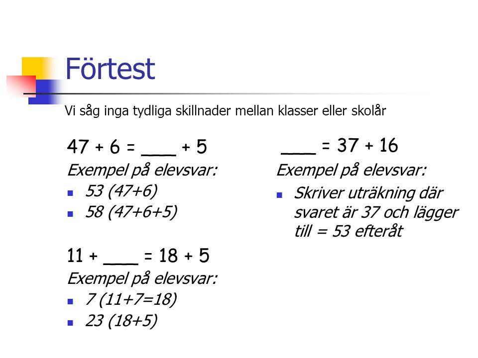 Förtest 47 + 6 = ___ + 5 Exempel på elevsvar: 53 (47+6) 58 (47+6+5) 11 + ___ = 18 + 5 Exempel på elevsvar: 7 (11+7=18) 23 (18+5) ___ = 37 + 16 Exempel