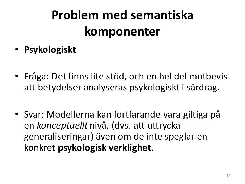 Problem med semantiska komponenter Psykologiskt Fråga: Det finns lite stöd, och en hel del motbevis att betydelser analyseras psykologiskt i särdrag.