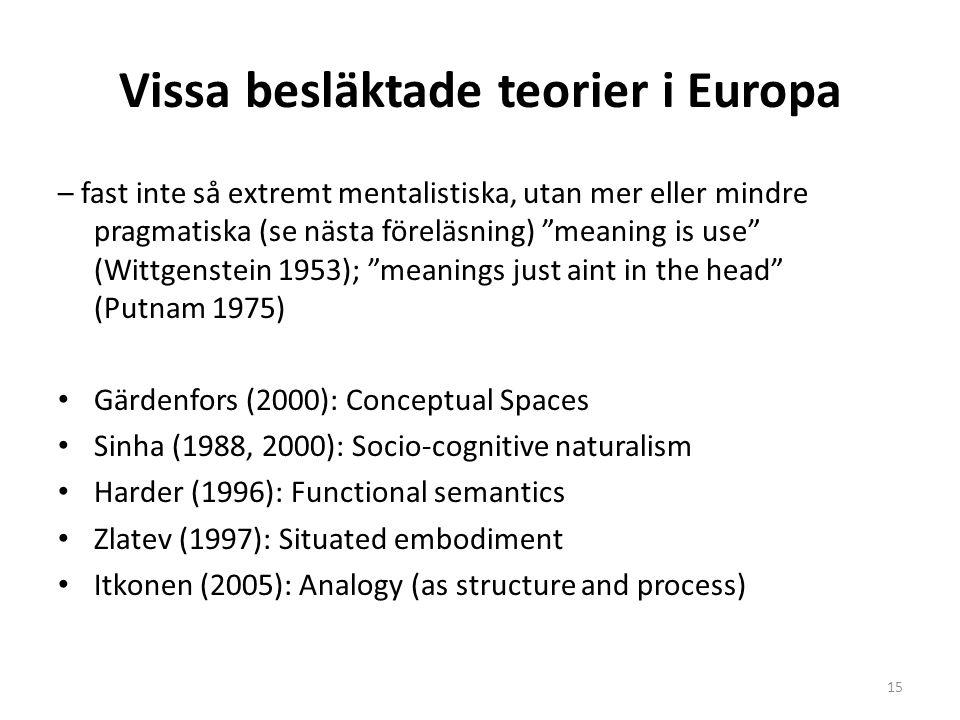 """Vissa besläktade teorier i Europa – fast inte så extremt mentalistiska, utan mer eller mindre pragmatiska (se nästa föreläsning) """"meaning is use"""" (Wit"""