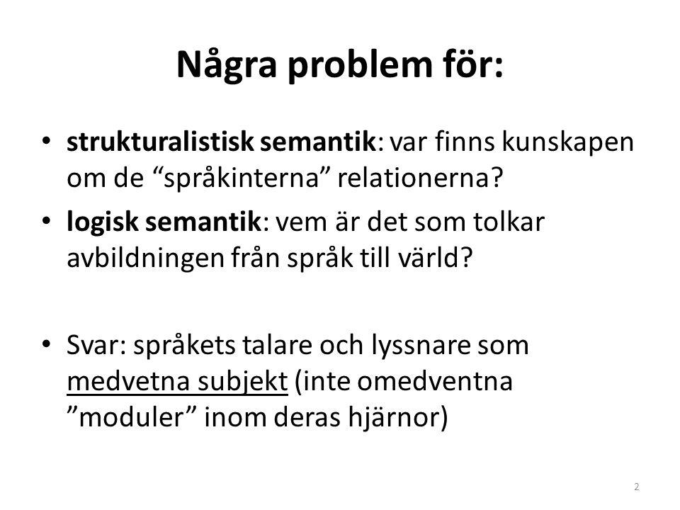 """Några problem för: strukturalistisk semantik: var finns kunskapen om de """"språkinterna"""" relationerna? logisk semantik: vem är det som tolkar avbildning"""