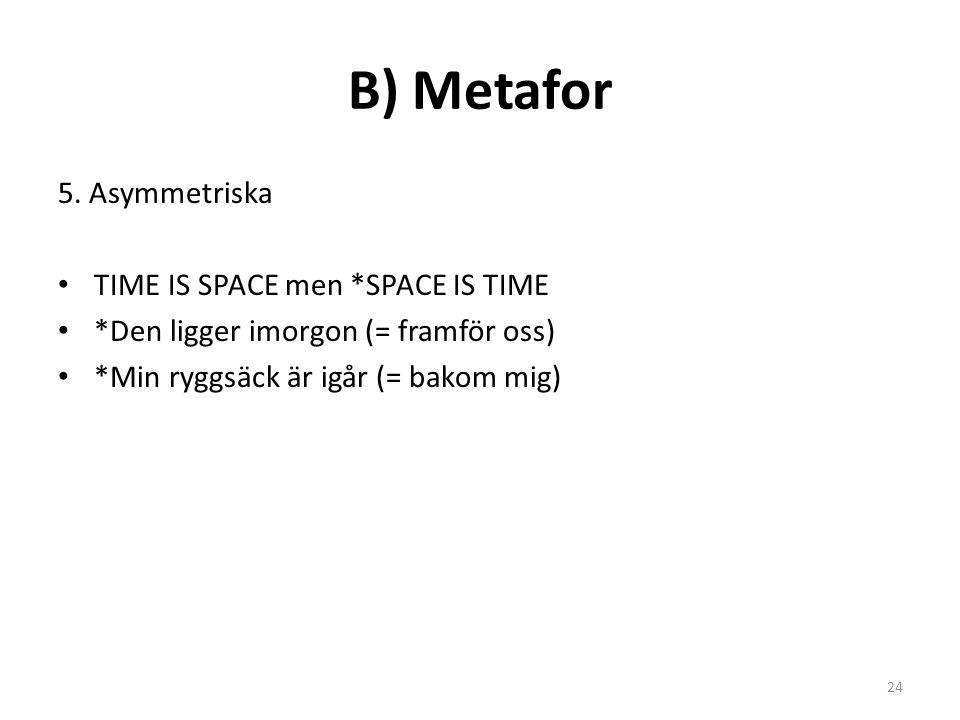 B) Metafor 5. Asymmetriska TIME IS SPACE men *SPACE IS TIME *Den ligger imorgon (= framför oss) *Min ryggsäck är igår (= bakom mig) 24