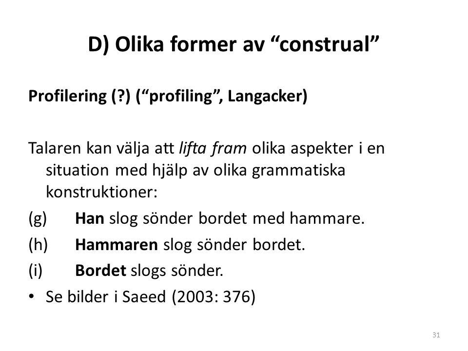 """D) Olika former av """"construal"""" Profilering (?) (""""profiling"""", Langacker) Talaren kan välja att lifta fram olika aspekter i en situation med hjälp av ol"""