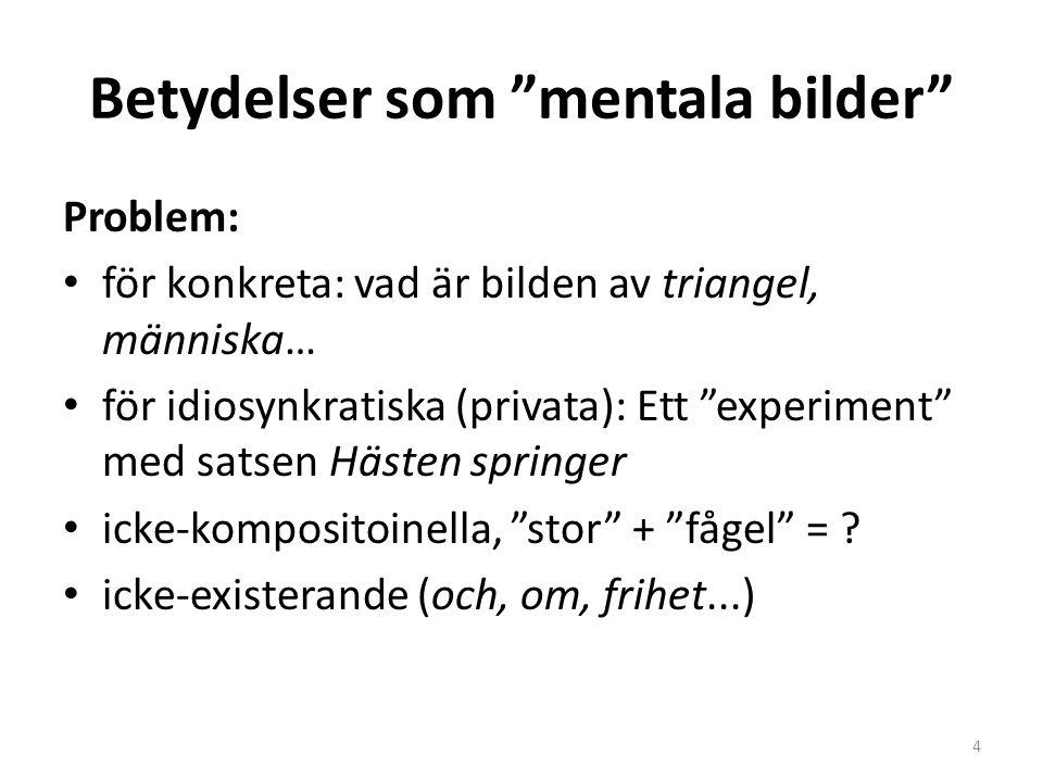 """Betydelser som """"mentala bilder"""" Problem: för konkreta: vad är bilden av triangel, människa… för idiosynkratiska (privata): Ett """"experiment"""" med satsen"""