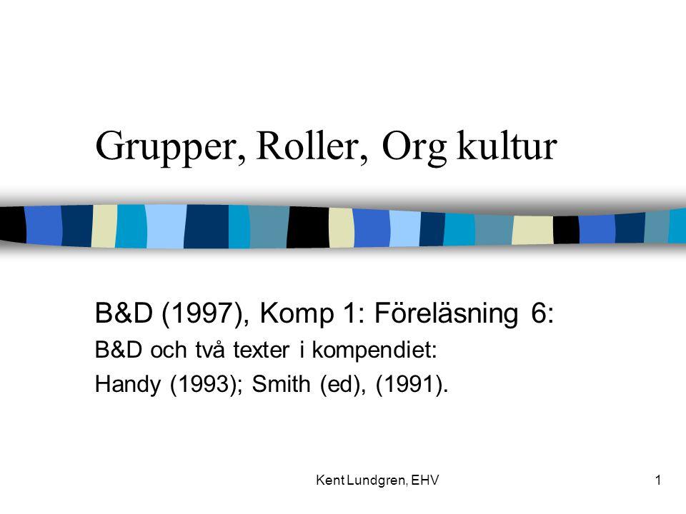 Kent Lundgren, EHV1 Grupper, Roller, Org kultur B&D (1997), Komp 1: Föreläsning 6: B&D och två texter i kompendiet: Handy (1993); Smith (ed), (1991).