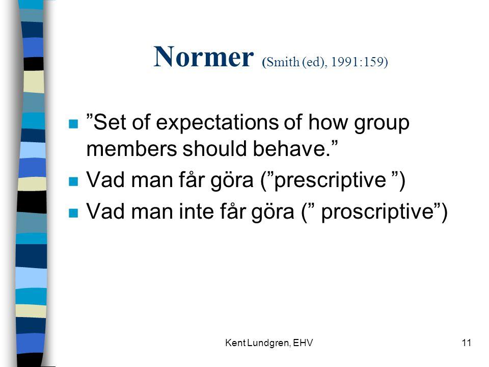 Kent Lundgren, EHV11 Normer (Smith (ed), 1991:159) n Set of expectations of how group members should behave. n Vad man får göra ( prescriptive ) n Vad man inte får göra ( proscriptive )