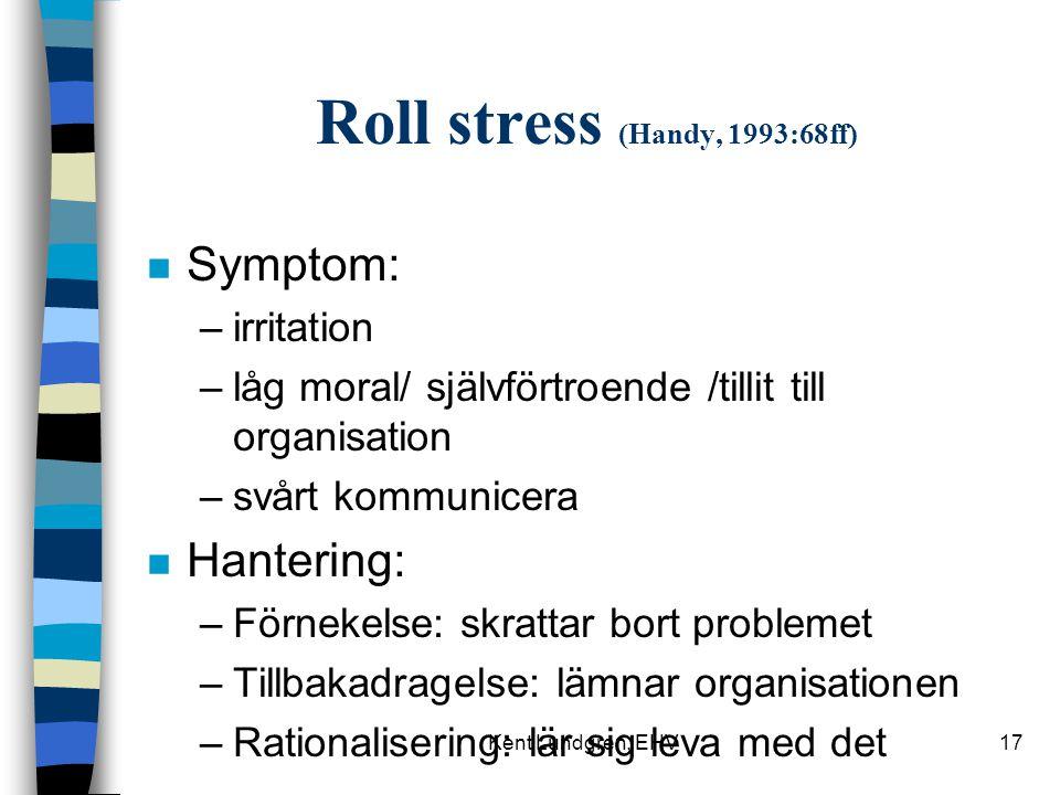 Kent Lundgren, EHV17 Roll stress (Handy, 1993:68ff) n Symptom: –irritation –låg moral/ självförtroende /tillit till organisation –svårt kommunicera n Hantering: –Förnekelse: skrattar bort problemet –Tillbakadragelse: lämnar organisationen –Rationalisering: lär sig leva med det
