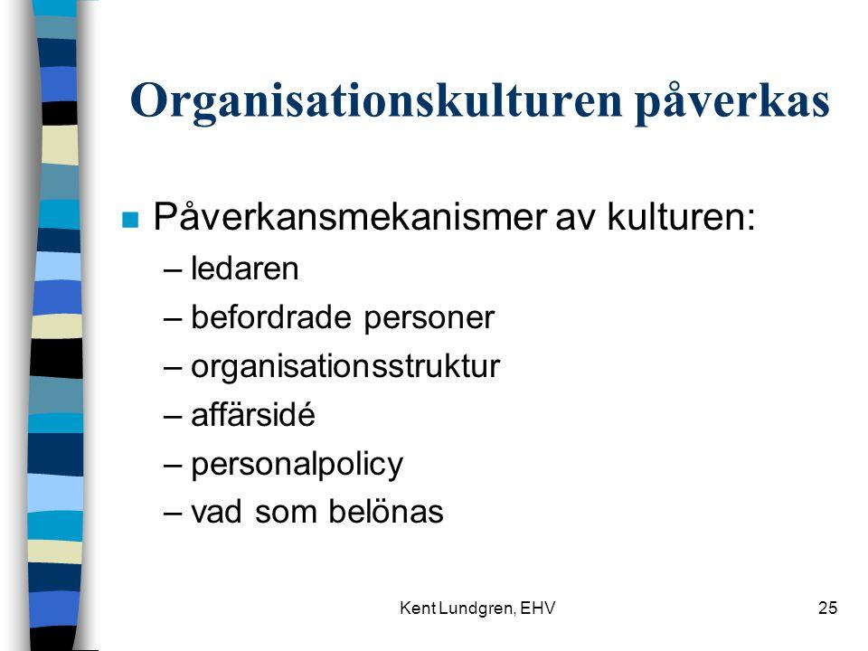 Kent Lundgren, EHV25 Organisationskulturen påverkas n Påverkansmekanismer av kulturen: –ledaren –befordrade personer –organisationsstruktur –affärsidé –personalpolicy –vad som belönas