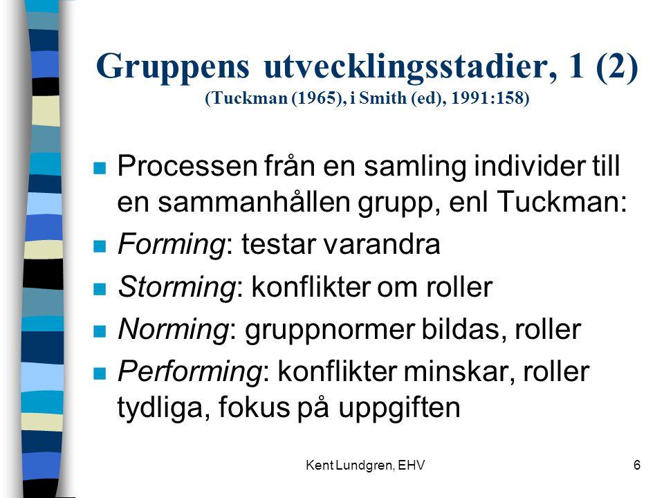 Kent Lundgren, EHV6 Gruppens utvecklingsstadier, 1 (2) (Tuckman (1965), i Smith (ed), 1991:158) n Processen från en samling individer till en sammanhållen grupp, enl Tuckman: n Forming: testar varandra n Storming: konflikter om roller n Norming: gruppnormer bildas, roller n Performing: konflikter minskar, roller tydliga, fokus på uppgiften