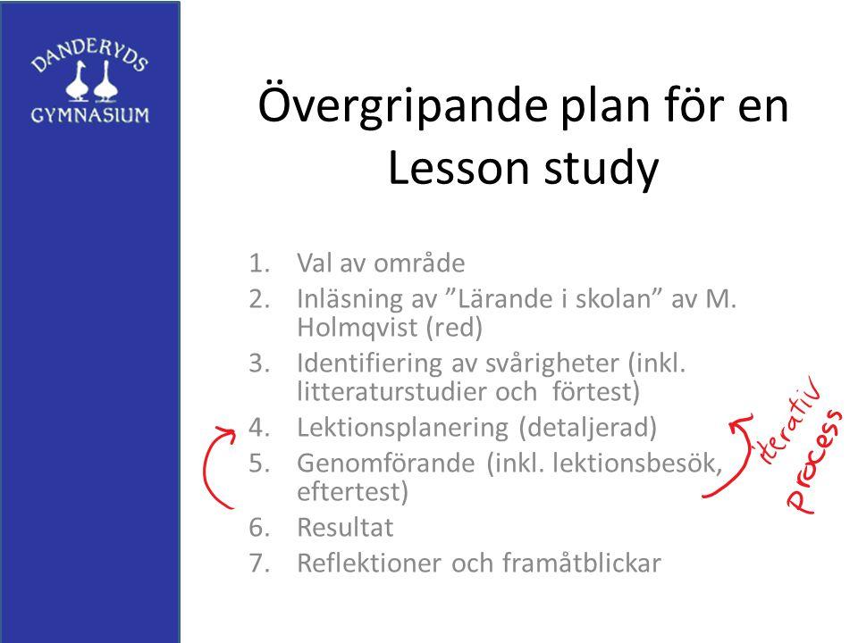 """Övergripande plan för en Lesson study 1.Val av område 2.Inläsning av """"Lärande i skolan"""" av M. Holmqvist (red) 3.Identifiering av svårigheter (inkl. li"""