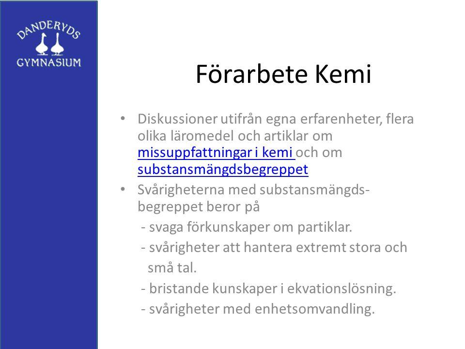 Förarbete Kemi Diskussioner utifrån egna erfarenheter, flera olika läromedel och artiklar om missuppfattningar i kemi och om substansmängdsbegreppet m