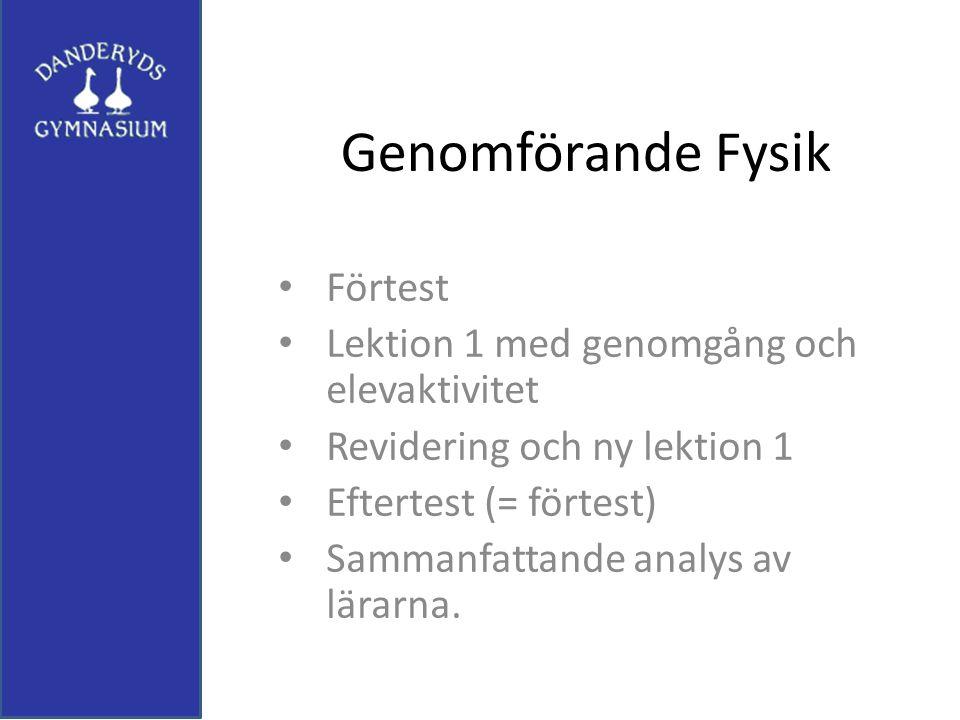 Genomförande Fysik Förtest Lektion 1 med genomgång och elevaktivitet Revidering och ny lektion 1 Eftertest (= förtest) Sammanfattande analys av lärarn